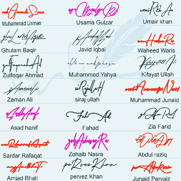Signature Style For My Name In English
